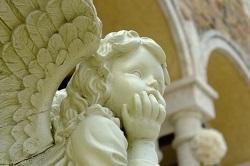 頬杖をつく天使の画像